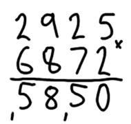 Grade school multiplication example 1 of 5