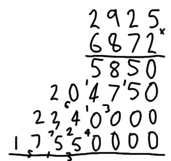 Grade school multiplication example 4 of 5
