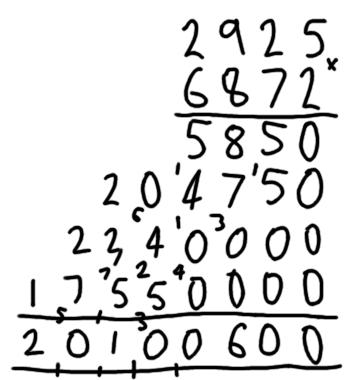 Grade school multiplication example 5 of 5
