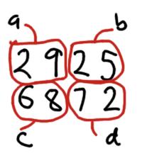Karatsuba multiplication applied to 2925 x 6872