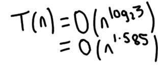 Karatsuba multiplication running time is O(n^1.585)